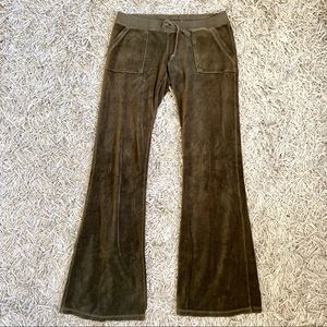 Juicy Couture Green/Sage/Brown Velour Track Pant S
